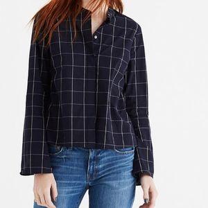 Madewell Bell-Sleeve Shirt Windowpane  Size M